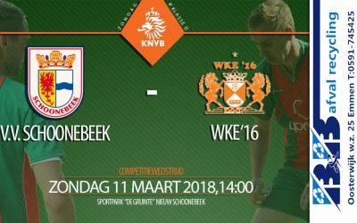 Aanstaande zondag 11 maart, Schoonebeek thuis tegen koploper WKE'16