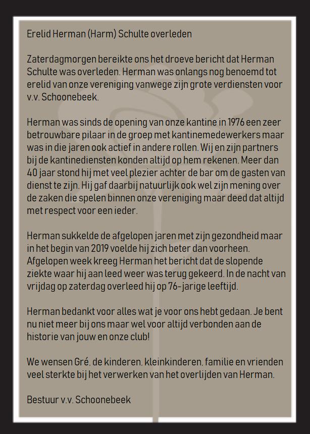 Erelid Herman (Harm) Schulte zaterdagnacht overleden