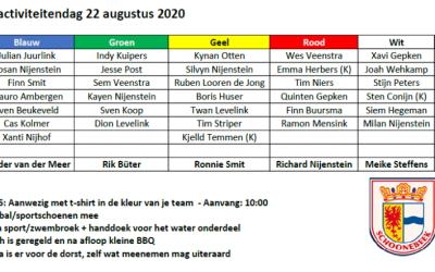 Teamindelingen activiteitendag v.v. Schoonebeek